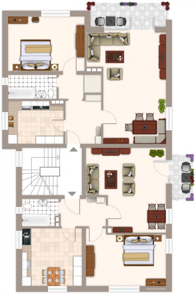 Grundriss 1. Etage (ohne Gewäh
